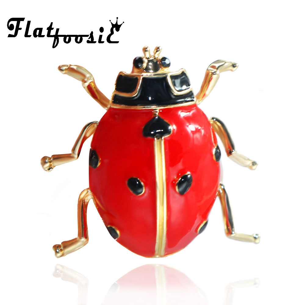 Flatfoosie Red Black Enamel Beetle Ladybug Brooch High Quality Men And Women Suits Sweater Hat Insect Brooches Pin Scarf Buckles
