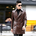 2016 men's autumn and winter clothing leather clothing medium-long slim leather coat plus size male double breasted leather 8850