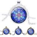 Azul Colar De Pingente Mandala Mandala Mandala Art Colar encantos Pingente de Vidro cabochão Colar zen Yoga Jóias amuleto de sorte