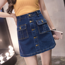 Plus Size Denim Skirt Women S-5XL Buttons Pockets Blue High Waist Jeans Skirt Mini Korean Style All-match Summer Skirts Womens 2019 korean summer vintage sweet preppy style skirt women jeans blue suspender skirt blue casual denim straps overall mini skirt