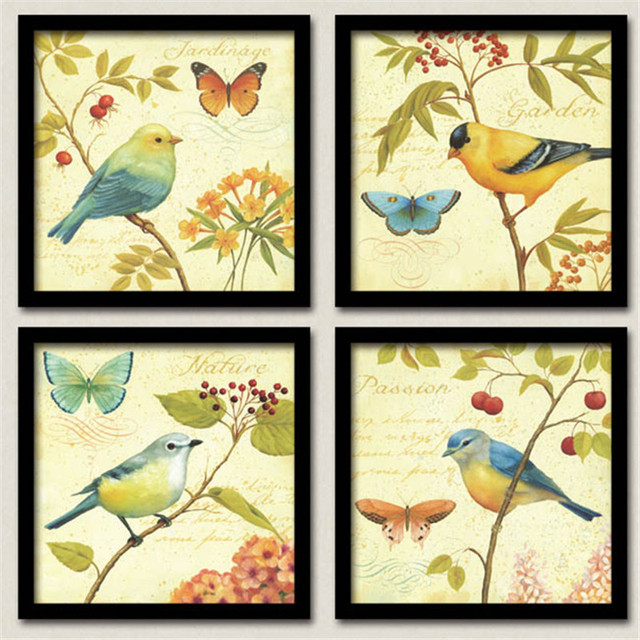 Birds on the tree wall art canvas painting kid print wall pictures ...