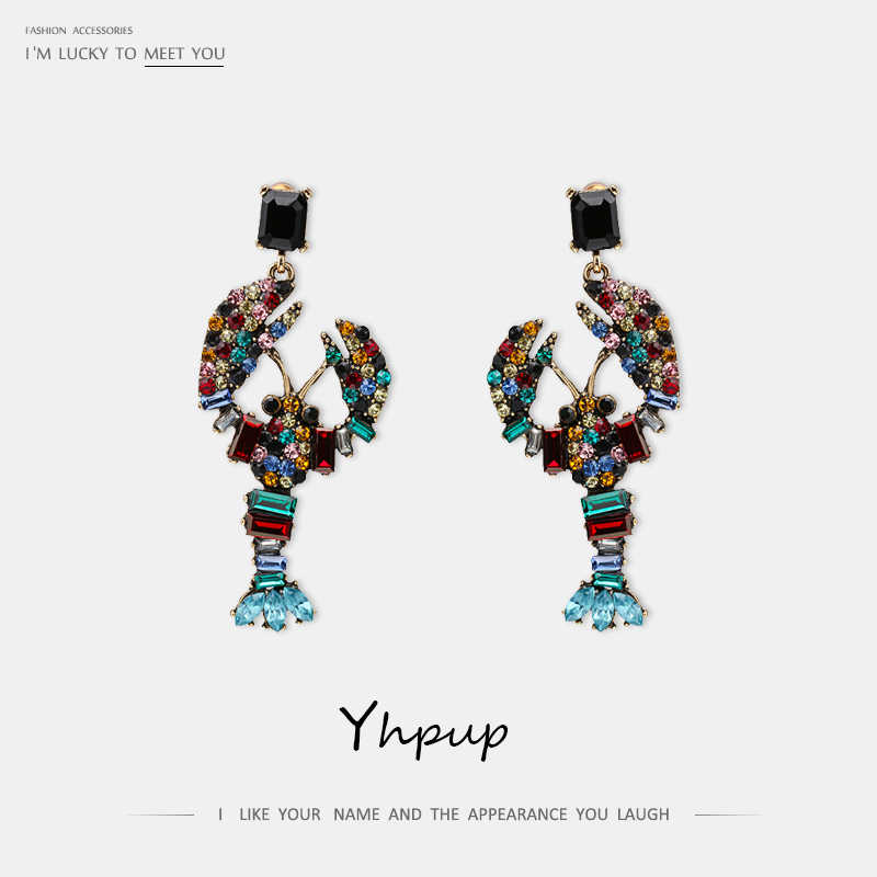 Yhpup Stylish Colorful Rhinestone Crystal Crayfish Dangle Earrings Glass Personality Luxury Ethnic Brincos for Women Party Gift