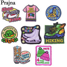 Prajña Schoen Rolschaatsen Iron Patches Fun Parade Hoed Shirt Stickers Geborduurde Badges Cartoon Kleding Accessoires Naaien(China)