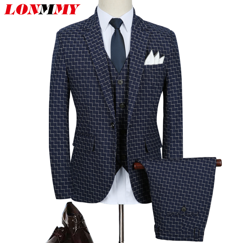 LONMMY M-5XL Formal blazers and jackets Plaid Three-piece sets slim fit Wedding dress suit men blazer Business wear 2018 Autumn