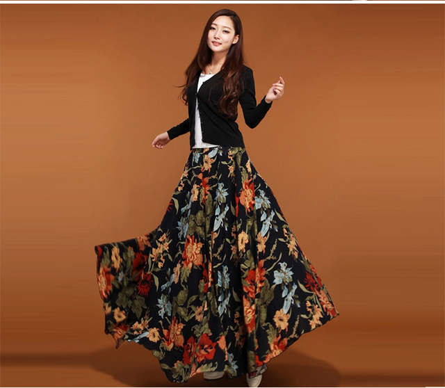 Aliexpress.com : Buy Vintage Pleated Printed Ball Gown Maxi Skirt ...
