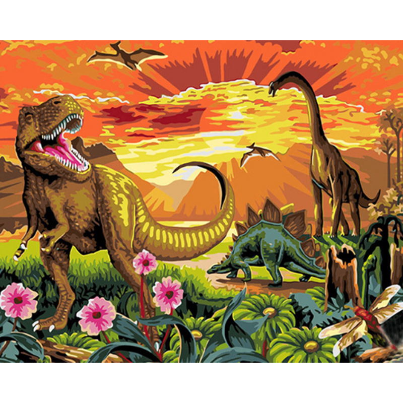 Dinosaur Century Hand Made Paint High Quality Canvas Beautiful Painting By Numbers Surprise Gift Great Accomplishment