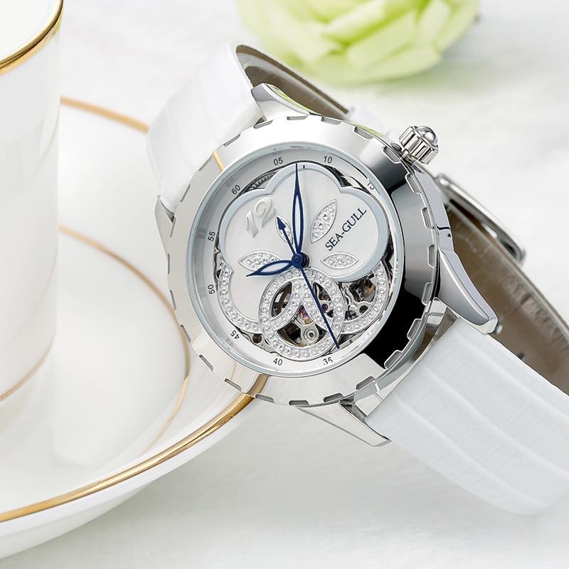 Mewa wycięty kwiat wzór masa perłowa wybierania kobiet pani automatyczny zegarek mody szafirowy kryształ 819.18.5028L w Zegarki damskie od Zegarki na  Grupa 3