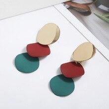Fashion Color Multilayer Metal Round Wafer Ear Ring Irregular Geometric Pendant Earrings Women Jewelry