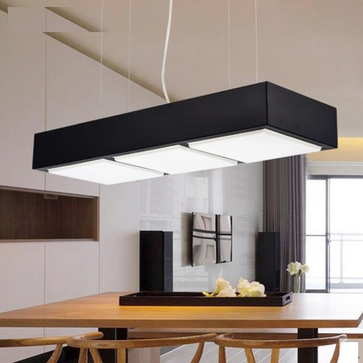 Creative Rectangle Acrylic Droplight Modern LED Pendant Light Fixtures For Office Study Restaurant Hanging Lamp Home Lighting zx modern round acryl pendant lamp simple restaurant led chip droplight single head study bar shop office lamp free shipping