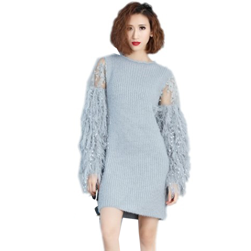 2018 Autumn Winter grey Fur Spliced Long Sleeves Knitted Sweaters Dress Women New Fashion Clothing Pullovers