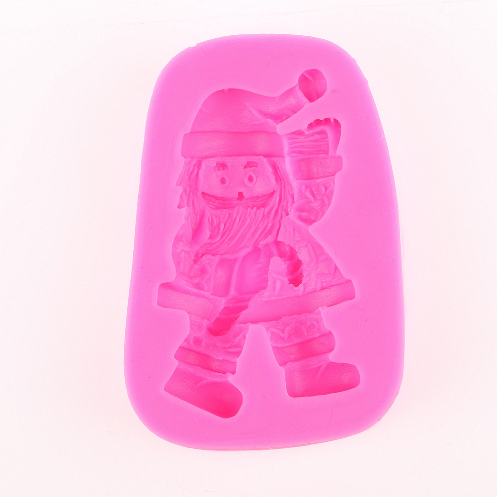 3D Reverse sugar molding Christmas Santa Claus appear Food Grade silicone soap polymer clay moulds cake decorating tools FT-0436