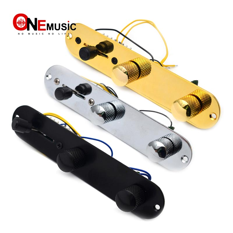 Guitar Control Plate 3 Way Switch Metal Prewired Control Plate with Wiring Harness Knobs for Tele Guitar Replacement Parts