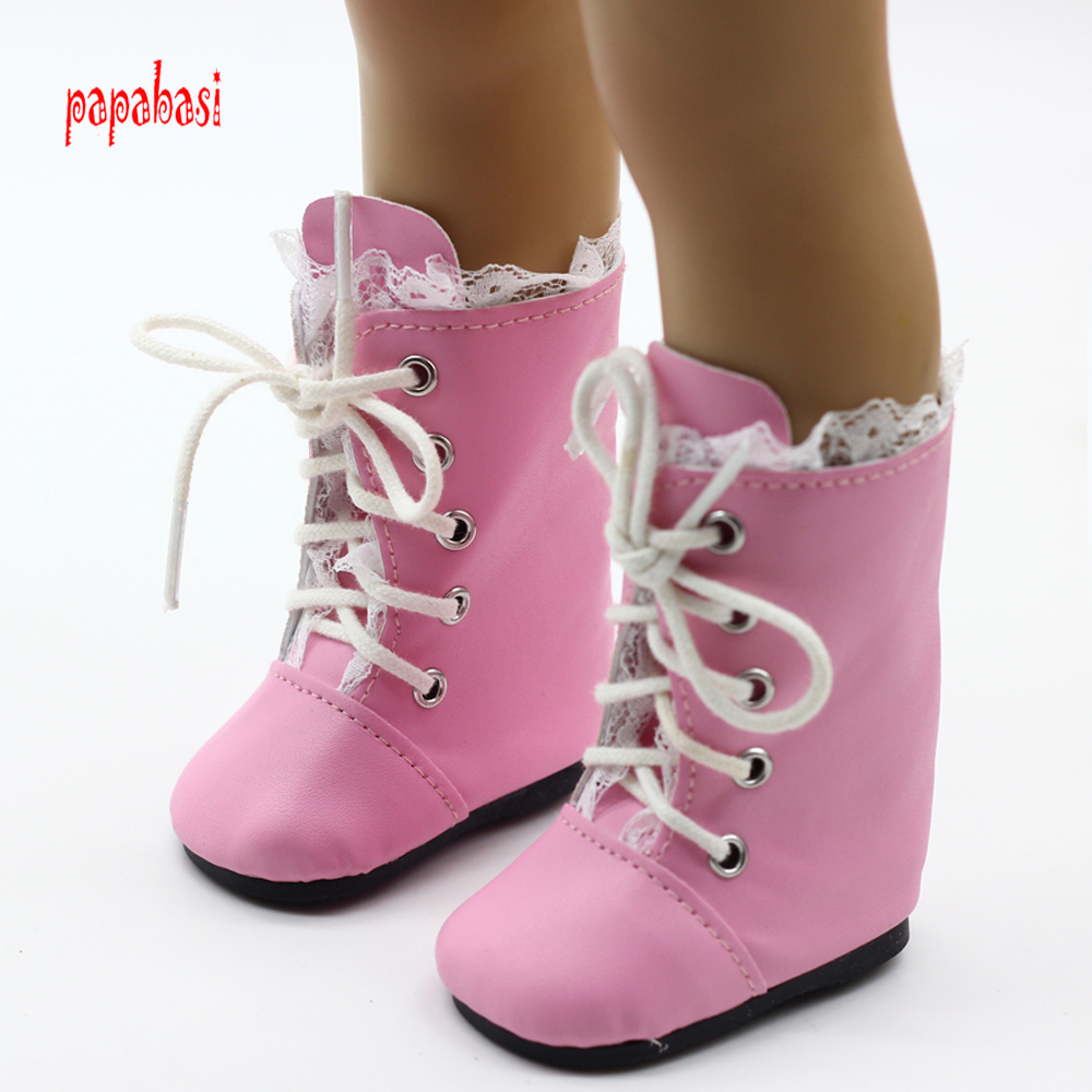 1pair Pink Lace Dolls Boot For 18inch American girl Dolls mini Shoes