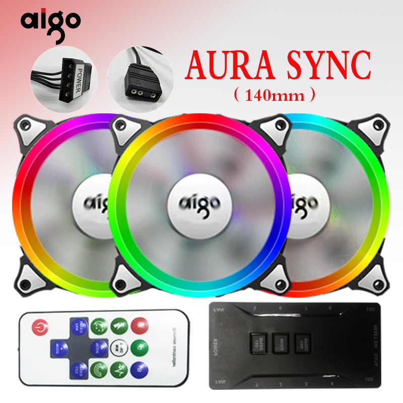 Aigo C5 aura مزامنة 3 P-5 فولت وحدة معالجة خارجية للحاسوب الكمبيوتر مروحة التبريد RGB ضبط LED 140 مللي متر هادئة IR البعيد الكمبيوتر مسند تبريد للاب توب مدمج به مكبر صوت RGB مروحة