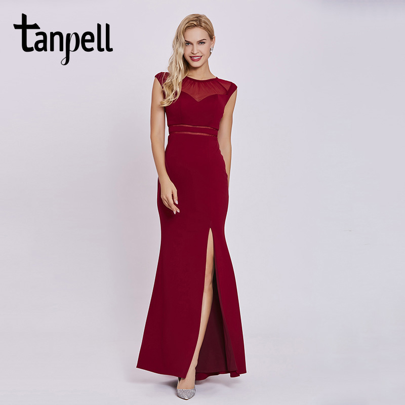 Tanpell split front evening dress burgundy scoop neck sleeveless floor length sheath gown women prom long