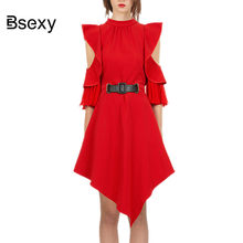 85368cee9f Autumn New Self Portrait Dress 2018 Fall Fashion Off shoulder Ruffle Women  Elegant Irregular Dress Short Red Party Dresses