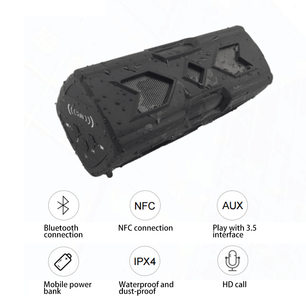 Outdoor Waterproof Bluetooth Speaker CSR-4.0 With NFC Function Emergency Charging Port Portable Audio And Video Equipment 2