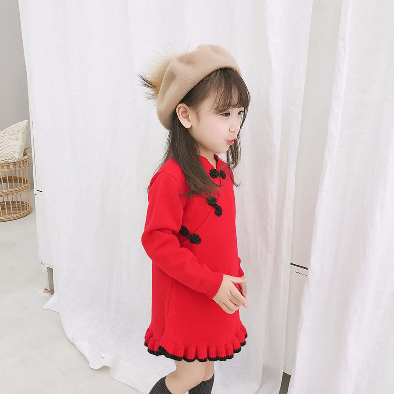 Christmas Knitted Baby Girl Sweater Dress 2018 Fall Winter Chinese Style Fashion Dress Tiddler Girls Clothes Bontique Clothing