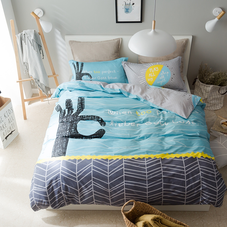 online get cheap grey patterned sheets aliexpresscom  alibaba group - light blue duvet cover set with hand patterngrey bed sheets  cotton bed