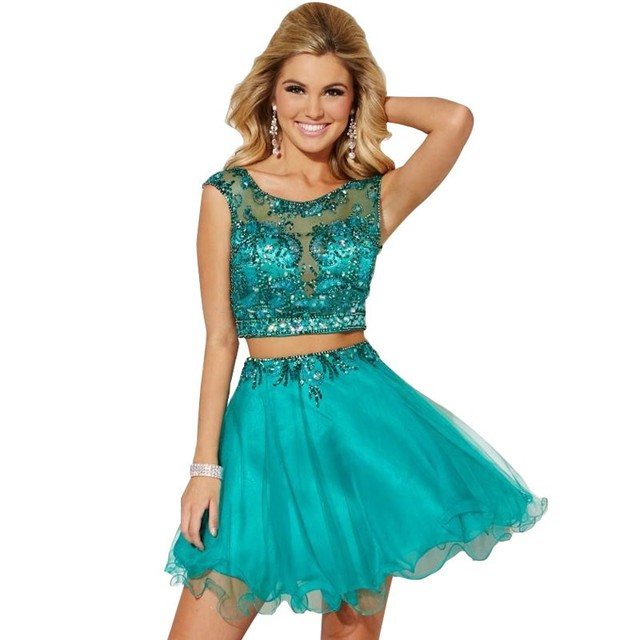 robe cocktail courte Short Green Two Piece Cocktail Dresses vestidos de 15 anos cortos See Through Beads Ladies Homecoming Dress