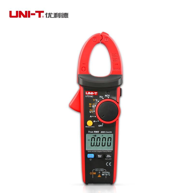 UNI-T UT216C 600A True RMS Digital Clamp Mutimeters Auto Range AC&DC Voltage Current Tester C/F Temperature Meter LCD Backlight