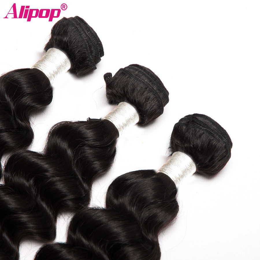 Alipop 3 Bundles Lose Tiefe Welle Brasilianische Haar Bundles Menschliches Haar Bundles Remy Haar Extensions Natürliche Schwarze Farbe Kann gefärbt