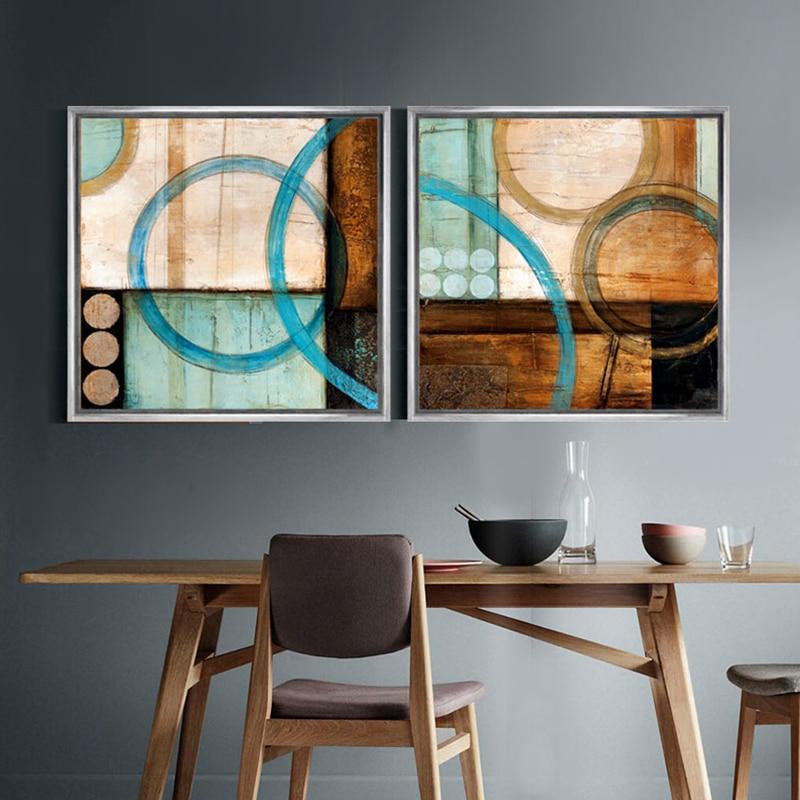 Plava i smeđa krugovi moderne apstraktno slikarstvo platno ispisuje - Kućni dekor - Foto 2