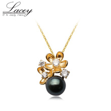 Perfect Round Natural Black Pearl Pendant Necklace For Women ,925 Sterling Silver Chain Tahiti Pearl Pendants Necklace Wedding
