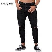 2017 новые зимние облегающие черные рваные джинсы для мужчин Denim Карандаш Штаны Байкер Jogger теплый проблемных стройная фигура мужской отверст...