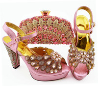 Most popular pink women pumps with big crystal and beads for dress african shoes match handbag set QSL008