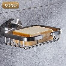 XOXO livraison gratuite accessoires de salle de bain produit solide 304 panier à savon en acier inoxydable, porte savon compartiments à vaisselle, boîte à savon 4111