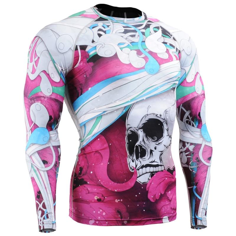 Pieno Stampe Uomo Compressione Stretto T Shirt per L'esecuzione di Formazione MMA GYM Accise & Fitness Maniche Lunghe Top Camicia Crossfit - 4