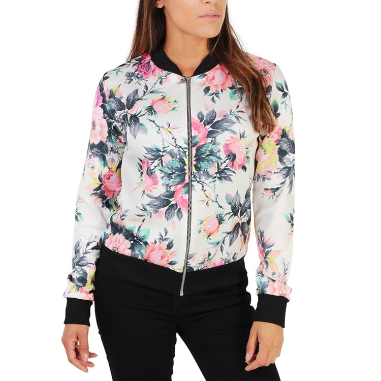 Bomber   Jackets   Coats Women Long Sleeve Outwears Zippers Pockets Baseball Coat Flower Printed Bomber   Basic     Jacket   Chaqueta Mujer