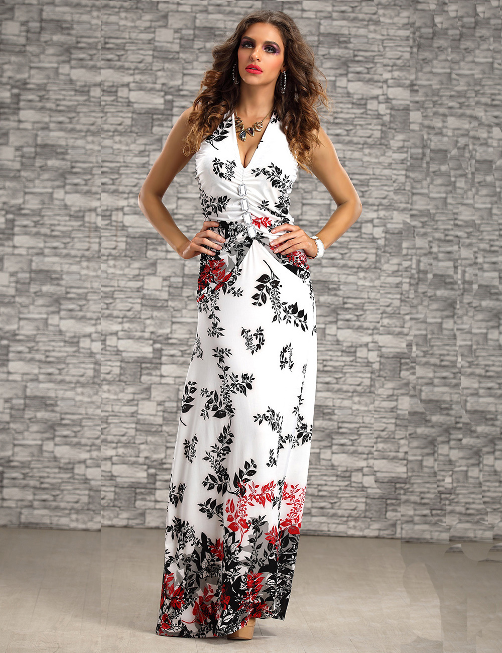 New Arrive Fashion Sleeveless Halter Neck Ladies Long Maxi Dress ...