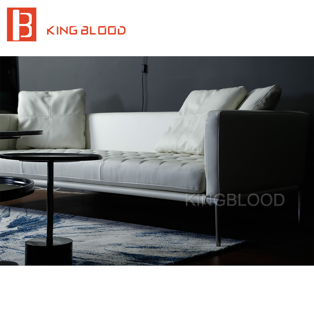 Hot Selling Living Room Modern Furniture White Genuine Leather Sofa For  Coffee Shop Home Office(