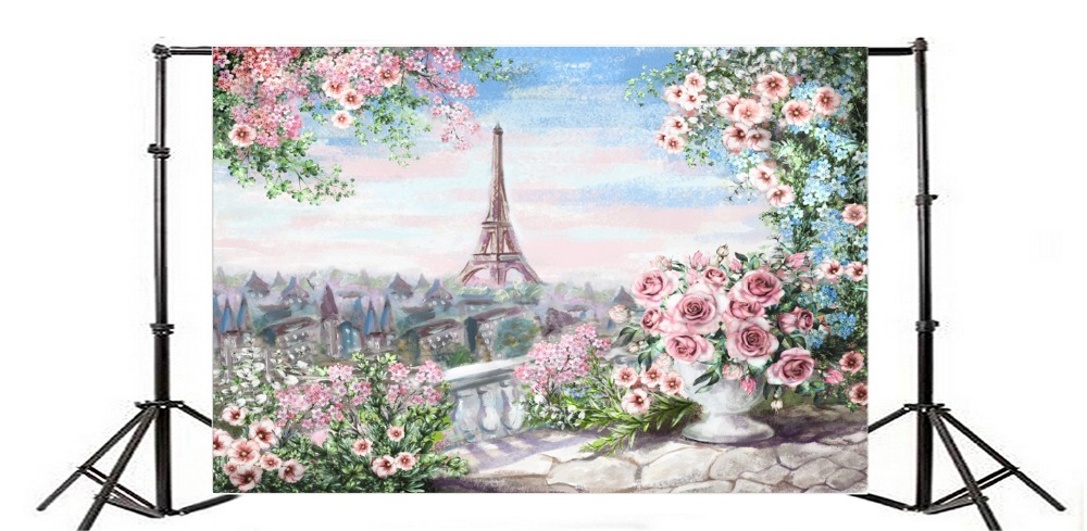Laeacco Eiffel Tower Paris Photography Backgrounds Flowers Balcony Painting Baby Custom Photographic Backdrops For Photo Studio in Background from Consumer Electronics