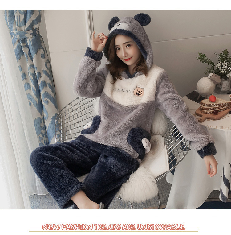 Winter Women Pajama Flannel Sleepwear Long Sleeves Hot Pajamas For Women Velvet Pajama Women Soft Clothing 104