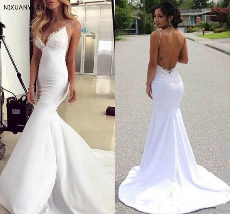 Lace Wedding Dresses Mermaid Spaghetti V Neck Beach