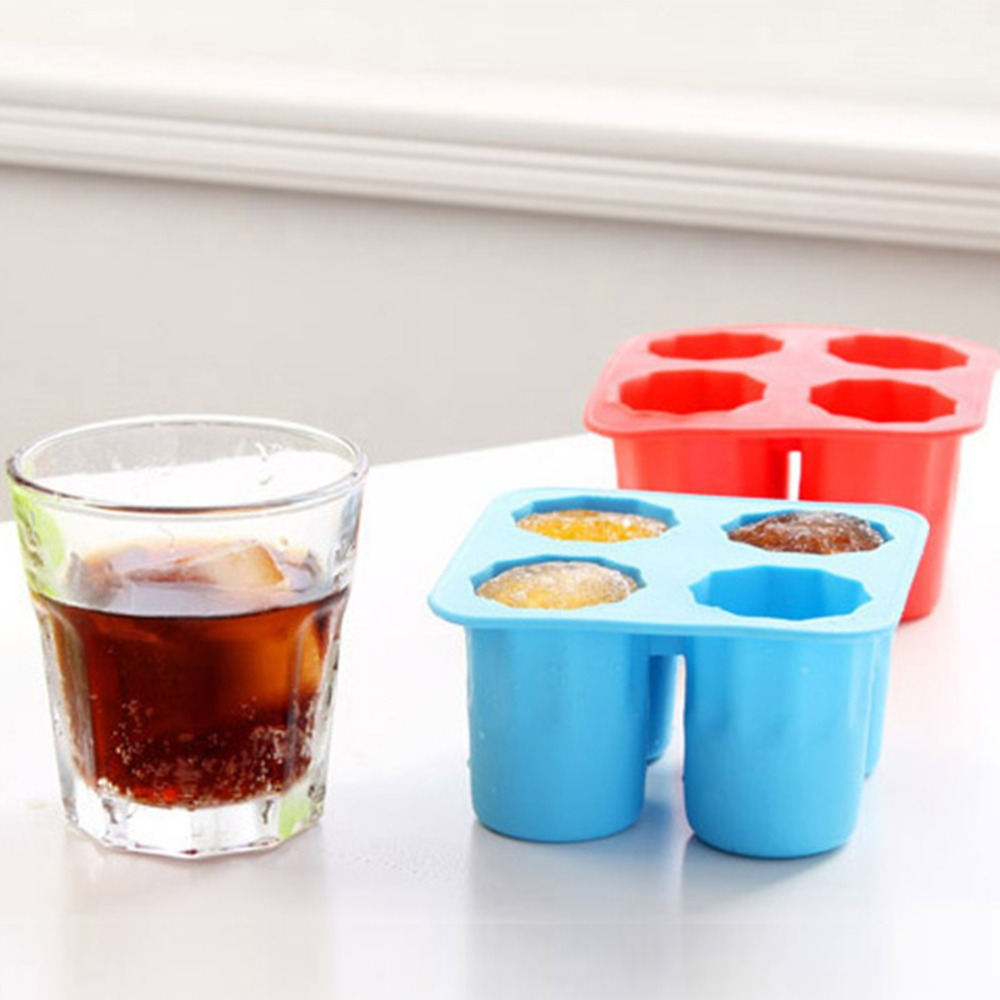 Alert 1pcs Creative 3d Ice Cube Mold Freeze 4 Cups Glasses Mould Novelty Gifts Tray Summer Party Kitchen Drinking Bar Glass Tools A Wide Selection Of Colours And Designs Other Bar Tools