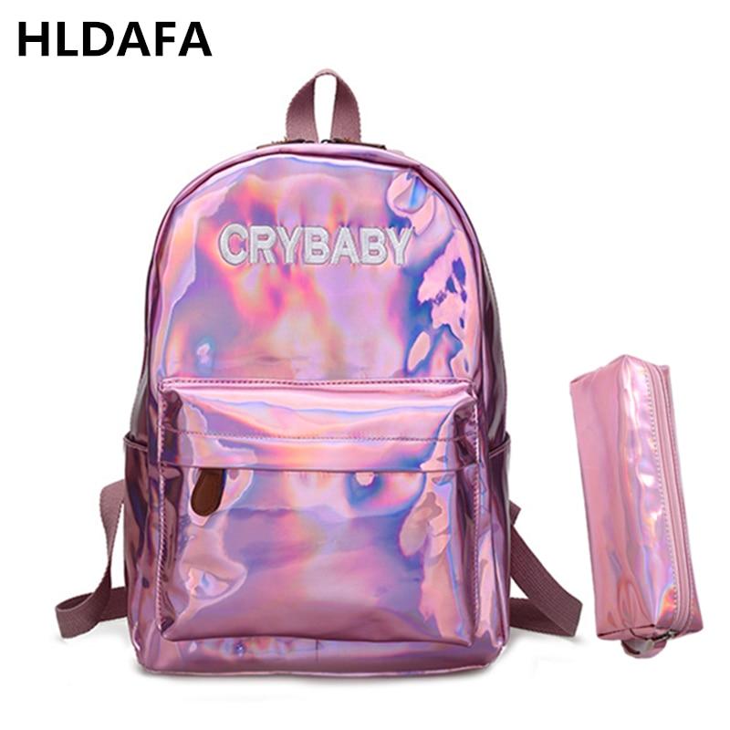 2018 Novas mulheres de prata holograma laser mochila daypacks escola menina bolsa feminina de couro pu sacos mochila holográfica Enviar um pacote
