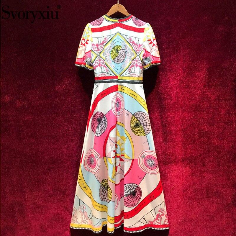 Svoryxiu Vintage Designer Sommer Party Maxi Kleid Frauen Hohe Qualität Kurzarm Geometric Print Dünnes Elegante Lange Kleider-in Kleider aus Damenbekleidung bei  Gruppe 2