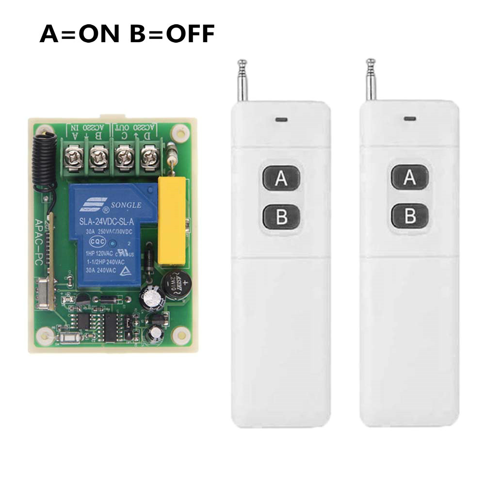 3000m AC 220V 30A 1 CH 1CH RF Wireless Remote Control Switch System,Transmitter + Receiver,Latched (A-ON,B-OFF) ac 220v 30a 1ch rf wireless remote control switch set 1 receiver 4 transmitter on off fixed code for light lamp sku 5332
