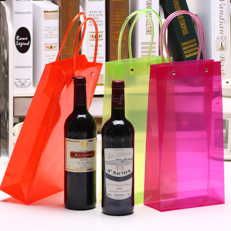 "PVC Handle Colorful Clear PP Bags Wine Packing 33x17x8cm 6.7"" Red Green Cherry Juice Oil Champange Bottle Carrier Gift Holder"