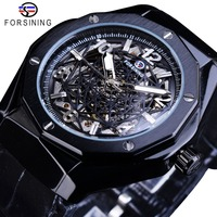 Forsining Black Leather Belt Irregular Shape 3D Spider Web Dial Mens Business Skeleton Automatic Watches Top Brand Luxury Clock