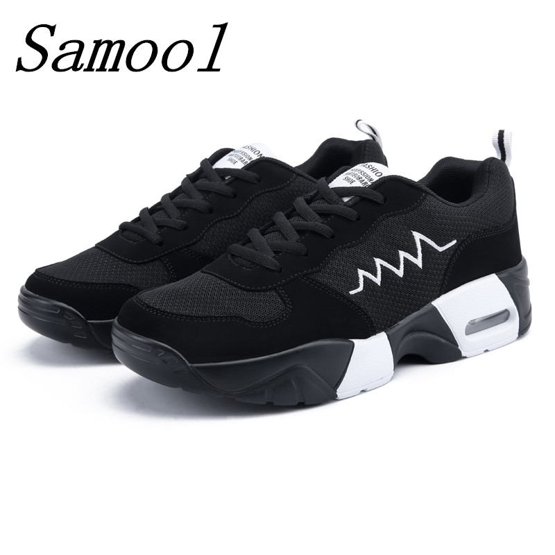 2018 Hot Sale Women Causal Shoes Mesh Breathable Non Slip Thick Bottom Lover Outdoor Sneakers Cushion Light Shoe Size 35-44 jy3 minika breathable mesh lace shoes women thick bottom shallow mouth women casual shoes slip on flat shoes women high quality