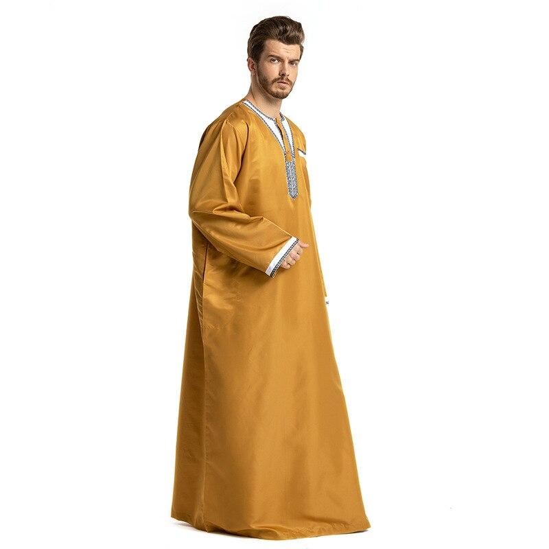38e506d0a4 Patchwork White Yellow Gray Man Islamic Clothing Pakistan Islamic Mens  Thobe Plus Size 3XL Saudi Arabia Ropa islamica hombre