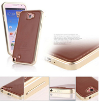 Original FINEDAY Genuine Real Leather Back Skin Cover Aluminum Frame Metal Case For Samsung Galaxy Note