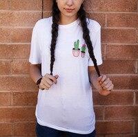 2015 New Fashion Cheap Cactus Print Fashion SUMMER Style TOPS White T shirt For Women