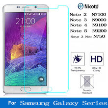 Nicotd 9H Clear Tempered Glass For Samsung Galaxy Note 2 3 4 5 neo For Galaxy N7100 N9000 N9100 N750 N9200 Screen Protector Film(China)