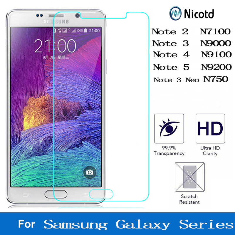 Nicotd 9H Clear Tempered Glass For Samsung Galaxy Note 2 3 4 5 Neo For Galaxy N7100 N9000 N9100 N750 N9200 Screen Protector Film